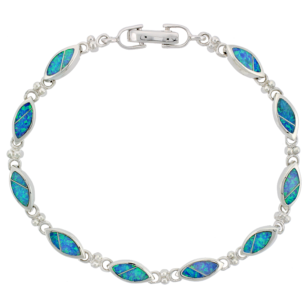 Sterling Silver Synthetic Opal Navette Shaped Link Bracelet Hand Inlay 7 1/4 inch