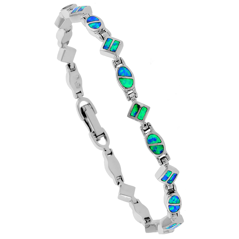 Sterling Silver Synthetic Opal Dainty Bracelet oval and Square Links Hand Inlay 7 1/4 inch