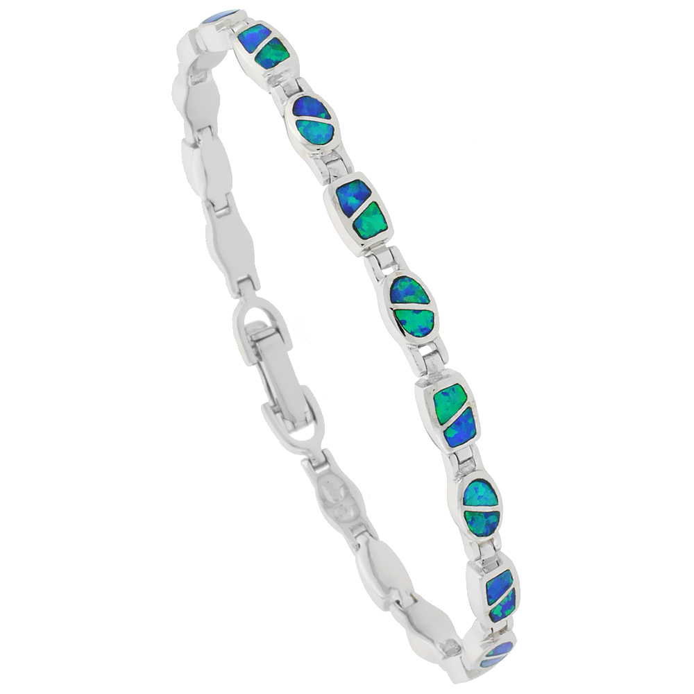 Sterling Silver Synthetic Opal Bracelet Oval & Square Links, 7 1/4 inch long