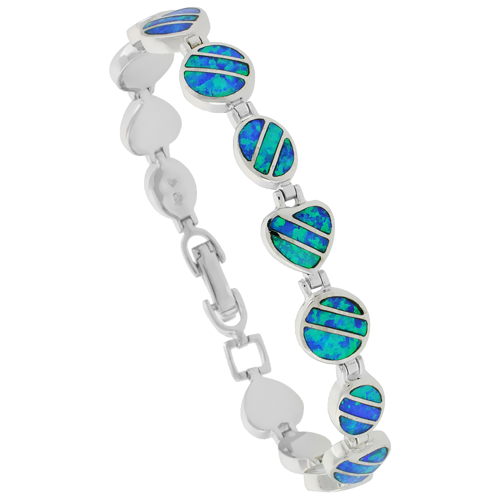 Sterling Silver Synthetic Opal Bracelet Heart Oval Round Liknks, 7 1/4 inch long