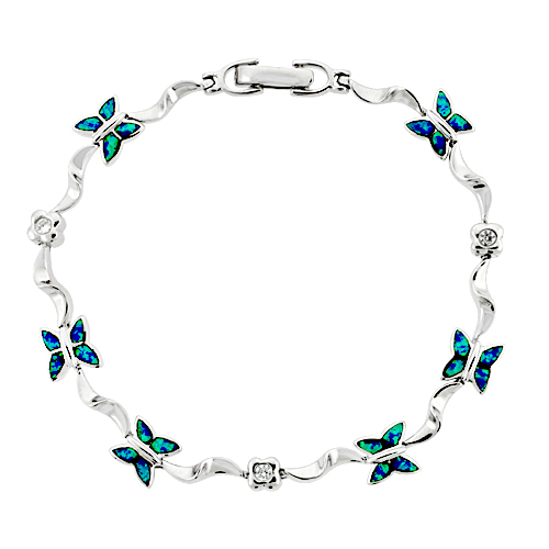 Sterling Silver Butterfly Bracelet Synthetic Opal Inlay and CZ stones, 7 1/4 inch long