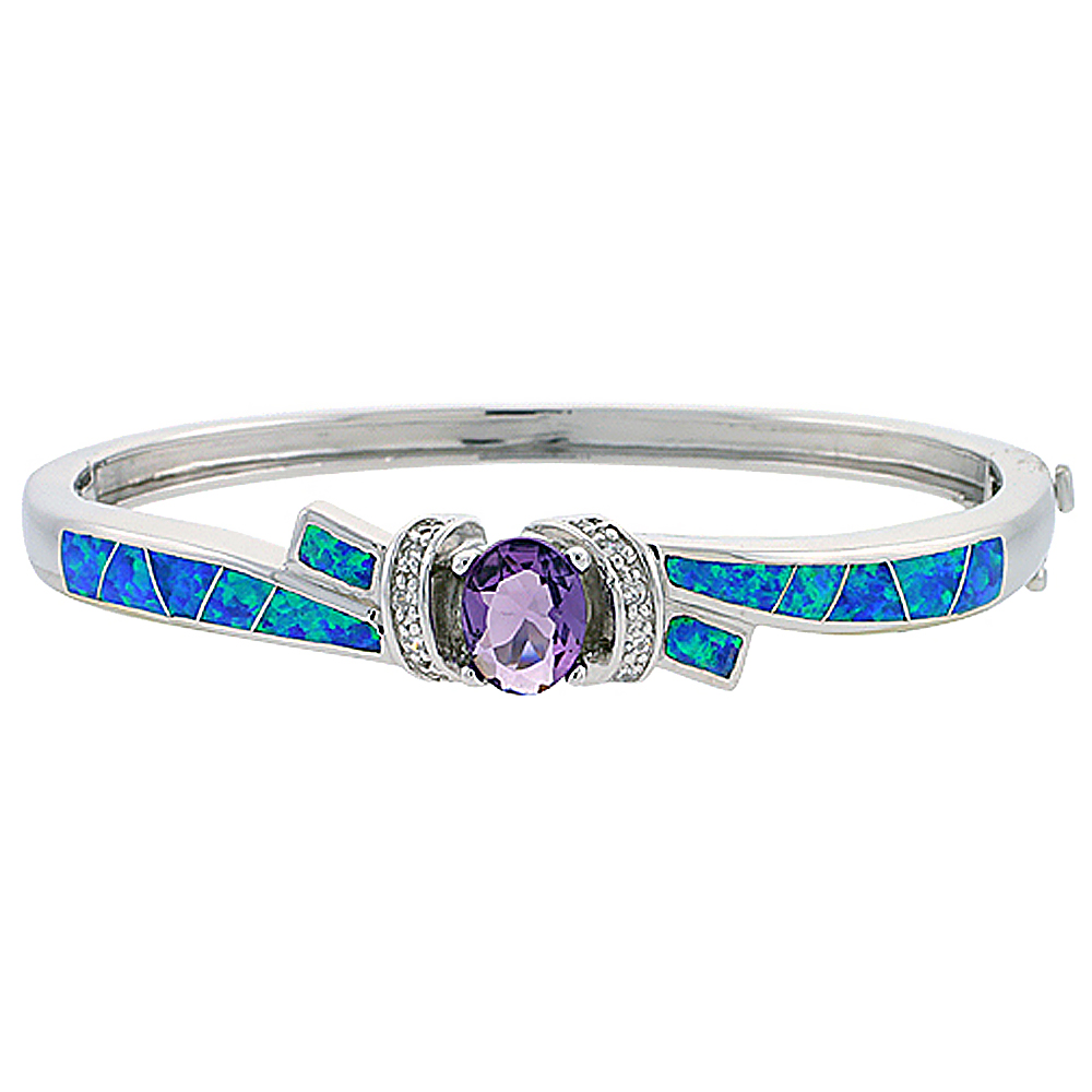Sterling Silver Bangle Bracelet Synthetic Opal Inlay with 10 mm Round Amethyst CZ