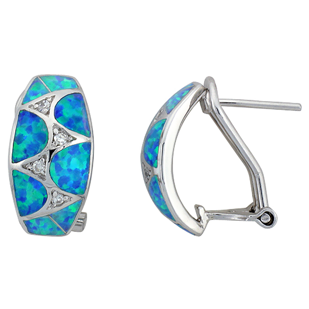 Sterling Silver Synthetic Blue Opal Earrings Omega Back Cubic Zirconia accent, 11/16 inch