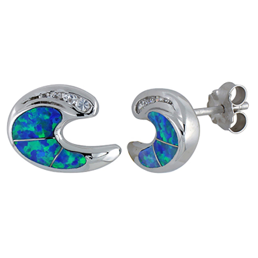 Sterling Silver Synthetic Blue Opal Stud Earrings C Shape CZ Accent, 5/8 inch
