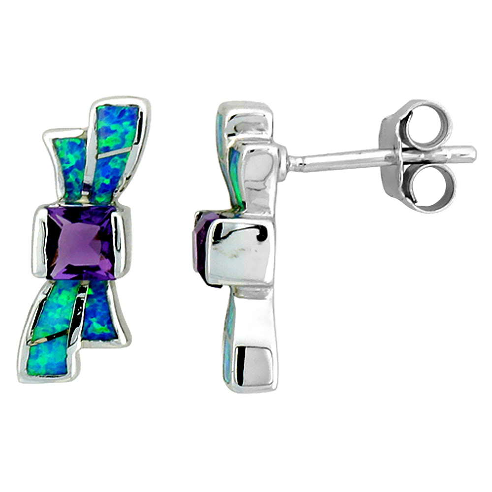 Sterling Silver Synthetic Opal Bow Tie Stud Earrings Square Amethyst CZ 5/8 inch Long