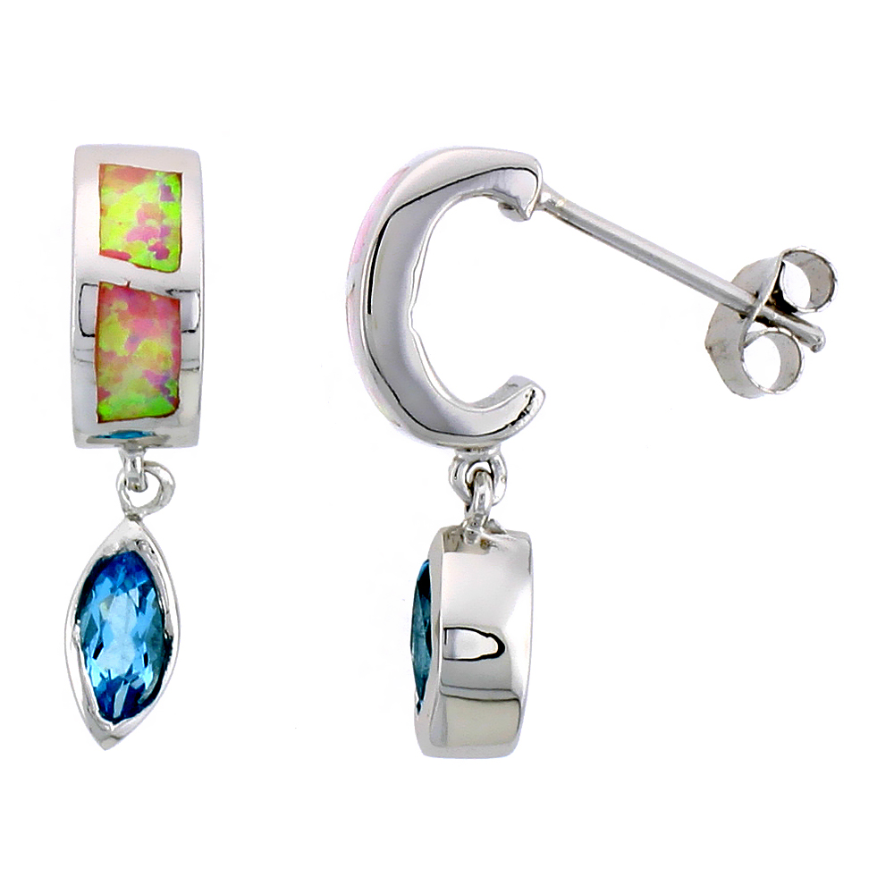 Sterling Silver Post Earrings Pink Synthetic Opal inlay with Marquis Shape Blue Topaz CZ, 7/8 inch