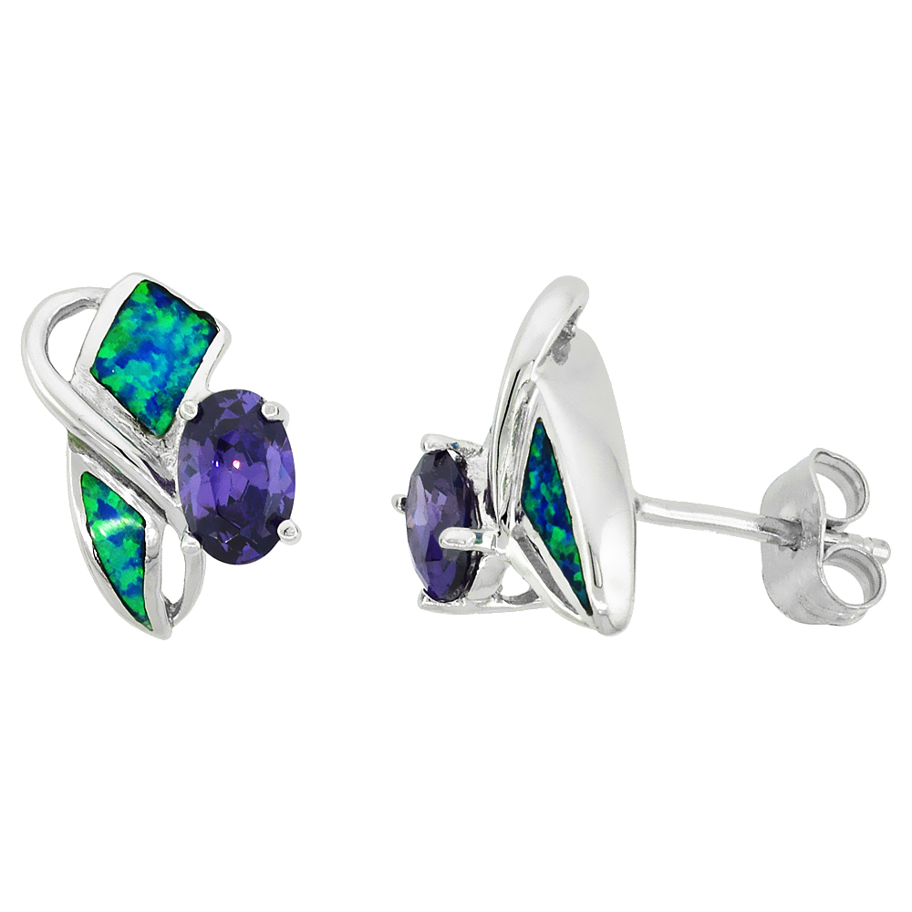 Sterling Silver Synthetic Blue Opal Stud Earrings with Oval Shape Amethyst CZ Center 1/2 inch