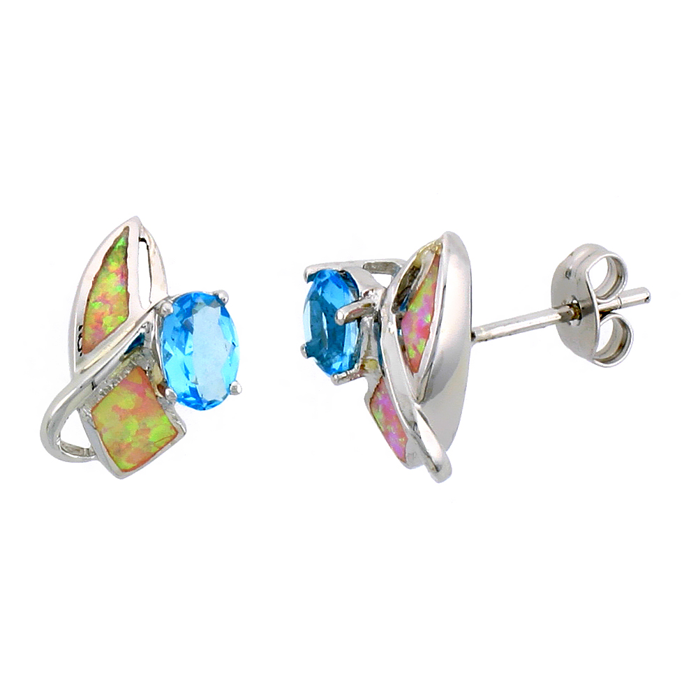 Sterling Silver Post Earrings Pink Synthetic Opal inlay with Marquis Shape Blue Topaz CZ, 1/2 inch