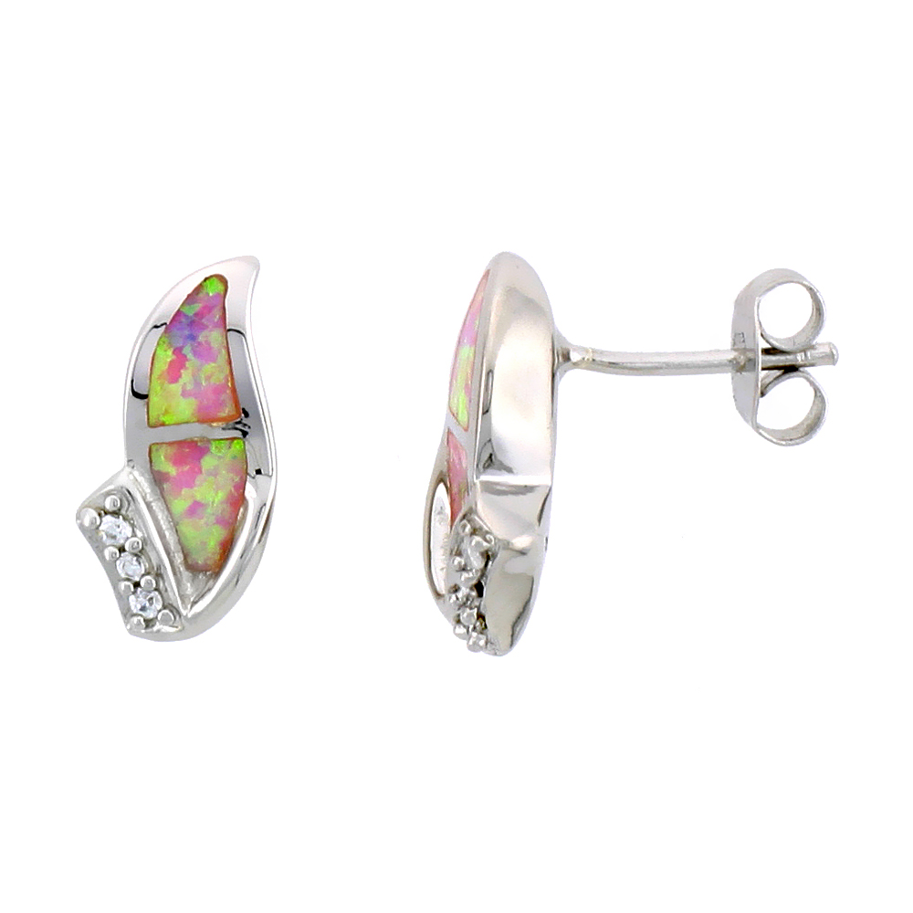 Sterling Silver Post Earrings Pink Synthetic Opal inlay with small CZ stones, 9/16 inch