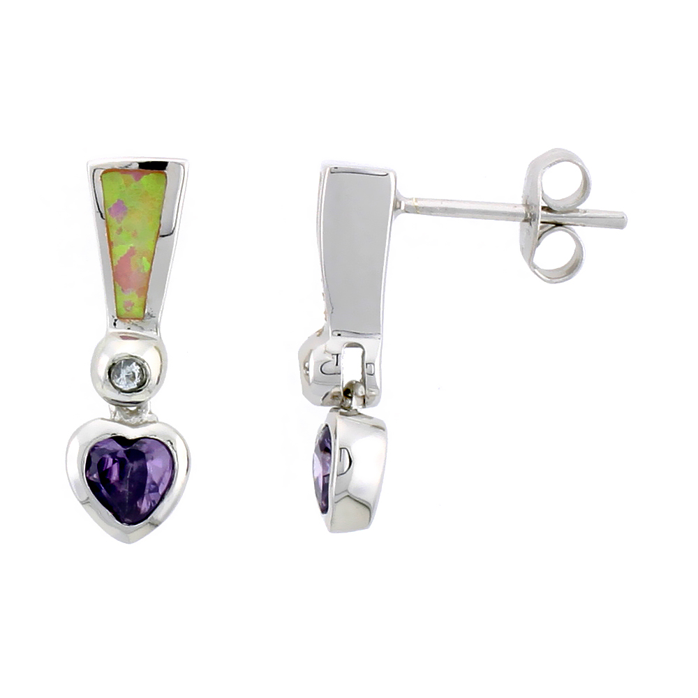 Sterling Silver Synthetic Opal Heart Dangle Post Earrings Amethyst CZ Drop 3/4 inch long