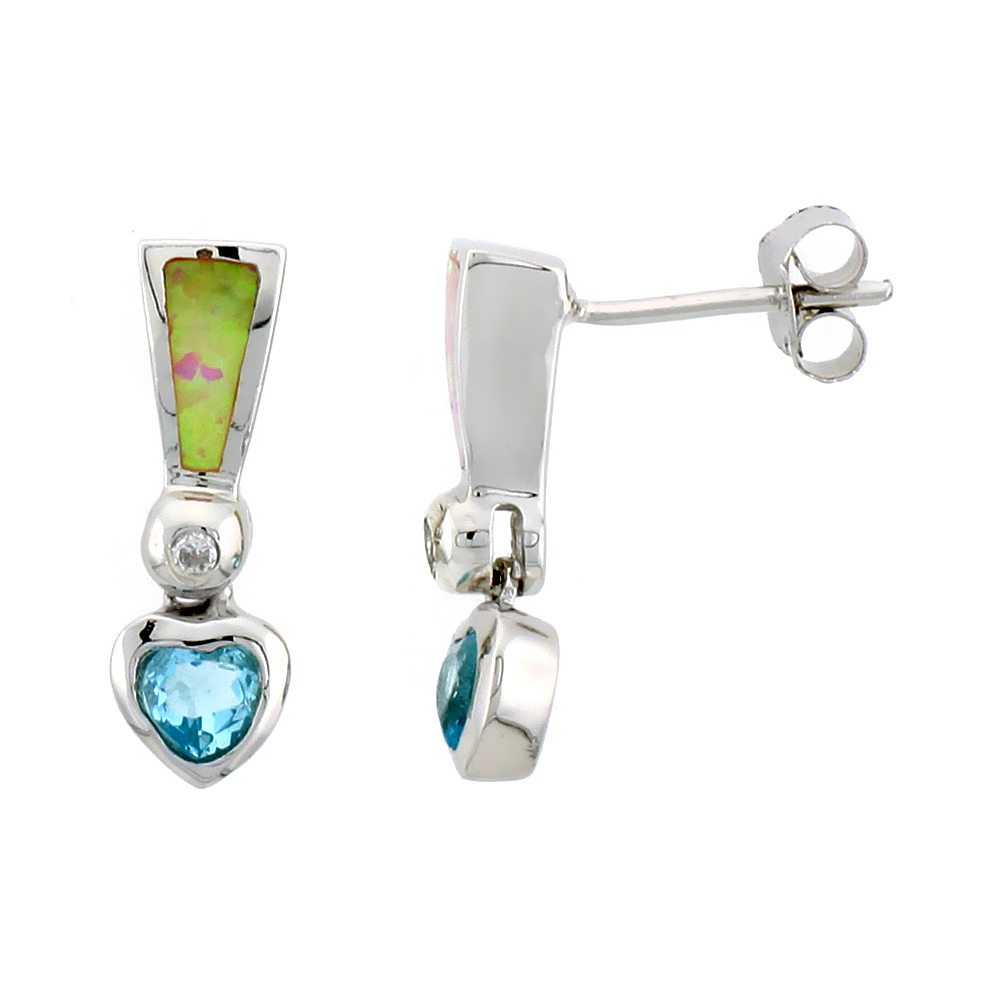 Sterling Silver Synthetic Pink Opal Heart Dangle Post Earrings Blue Topaz CZ Drop 3/4 inch long