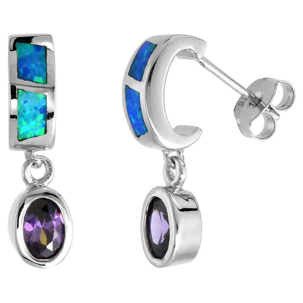 Sterling Silver Synthetic Blue Opal Stud Earrings with Oval Shape Amethyst CZ Center 7/8 inch