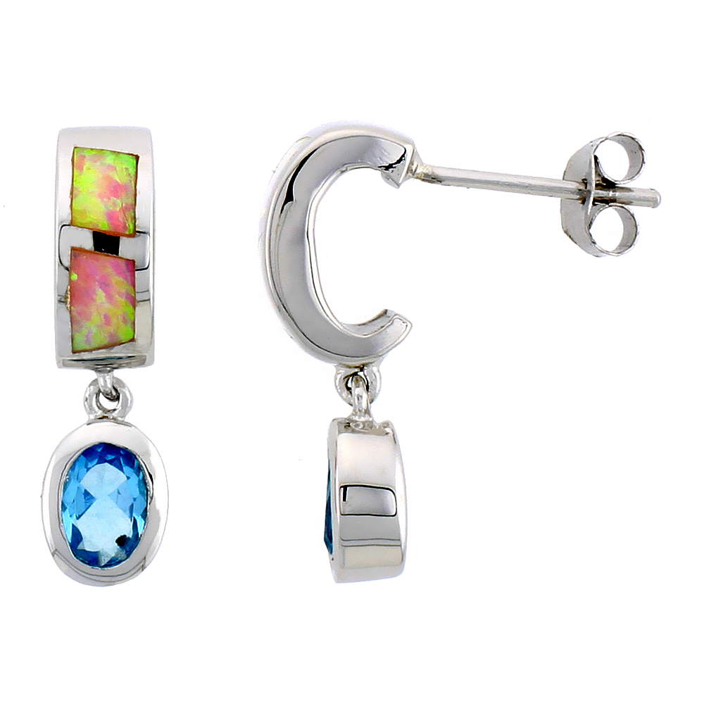 Sterling Silver Post Earrings Pink Synthetic Opal inlay with Oval Shape Blue Topaz CZ, 7/8 inch