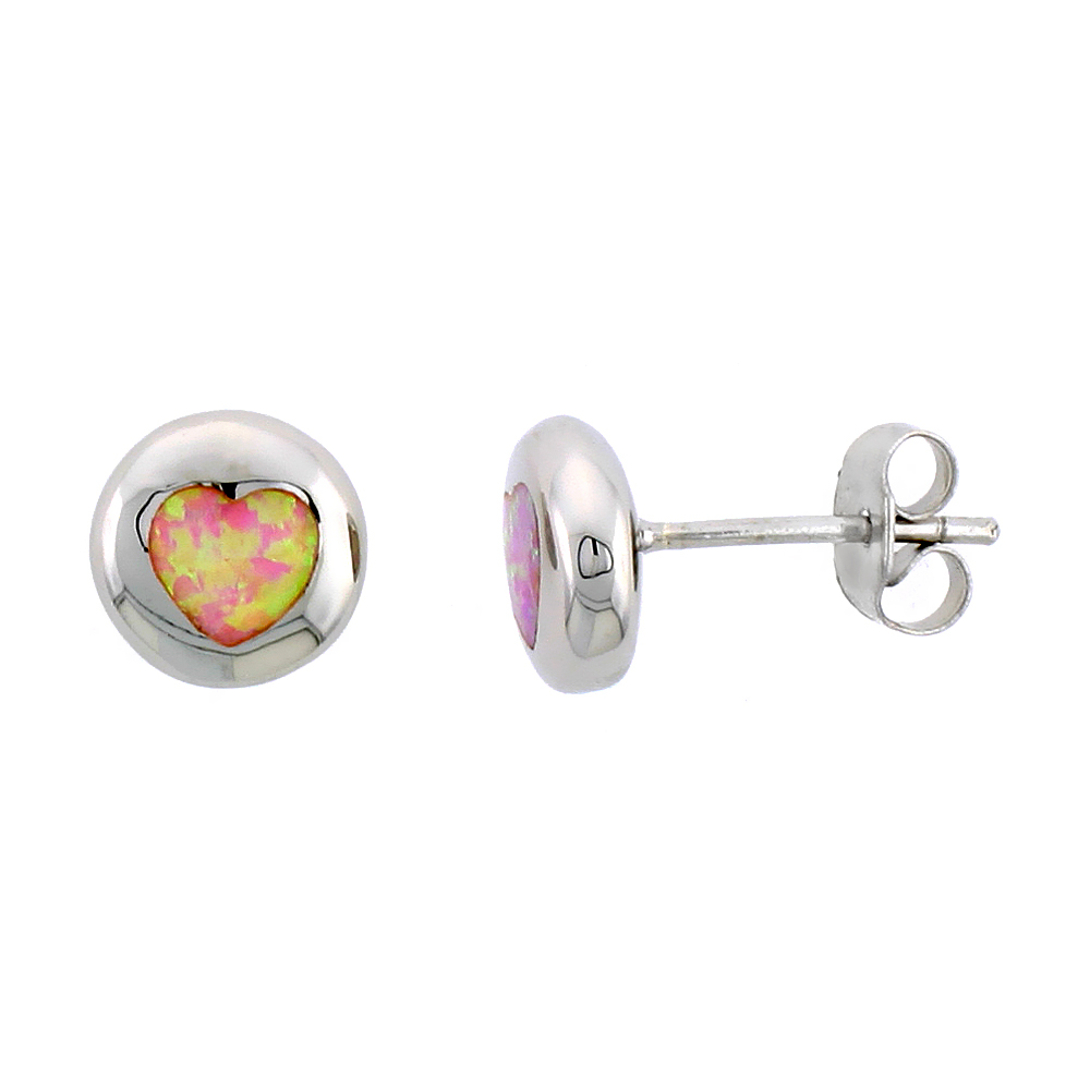 Sterling Silver Synthetic Pink Opal Heart Inlay Flat ball Studs, 3/8 inch Diameter
