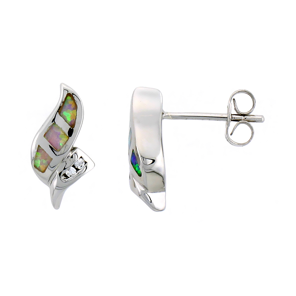 Sterling Silver Synthetic Blue Opal Stud Earrings Small CZ, 5/8 inch