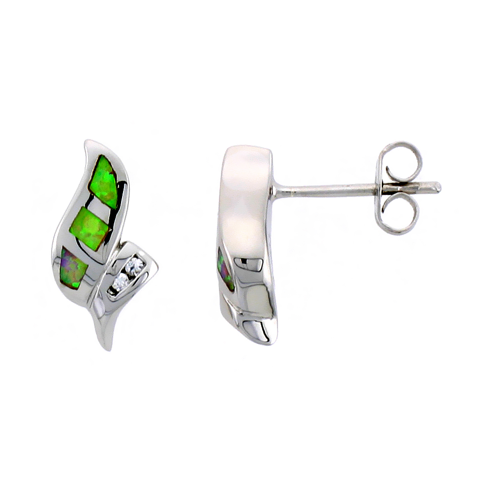 Sterling Silver Post Earrings Pink Synthetic Opal inlay Small CZ, 5/8 inch