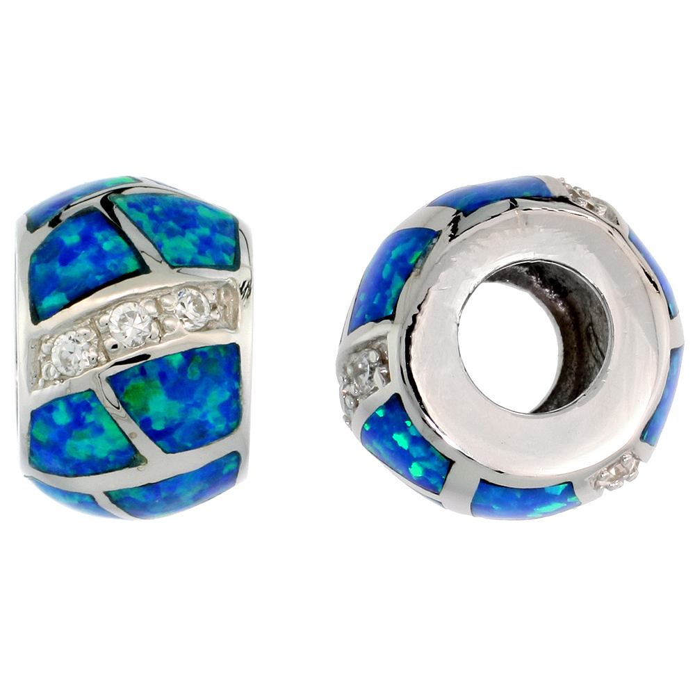 Sterling Silver Synthetic Blue Opal Inlay Charm Bead with CZ Stones Charm Bracelet Compatible 3/8 inch