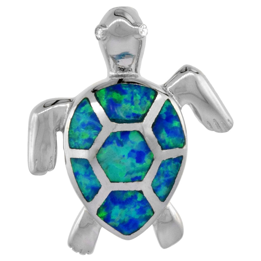 Sterling Silver Sea Turtle Pendant Synthetic Opal Inlay 7/8 inch tall