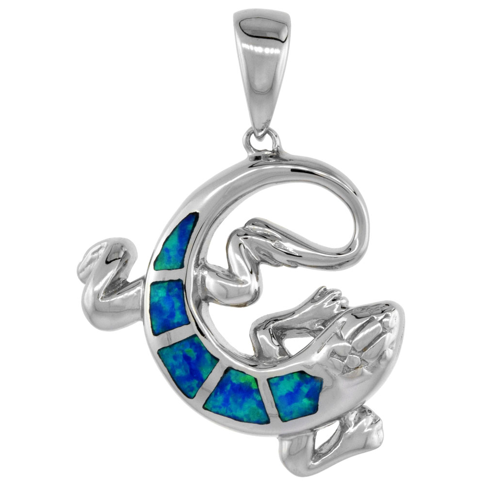 Sterling Silver Lizard Pendant Synthetic Opal Inlay 15/16 inch tall