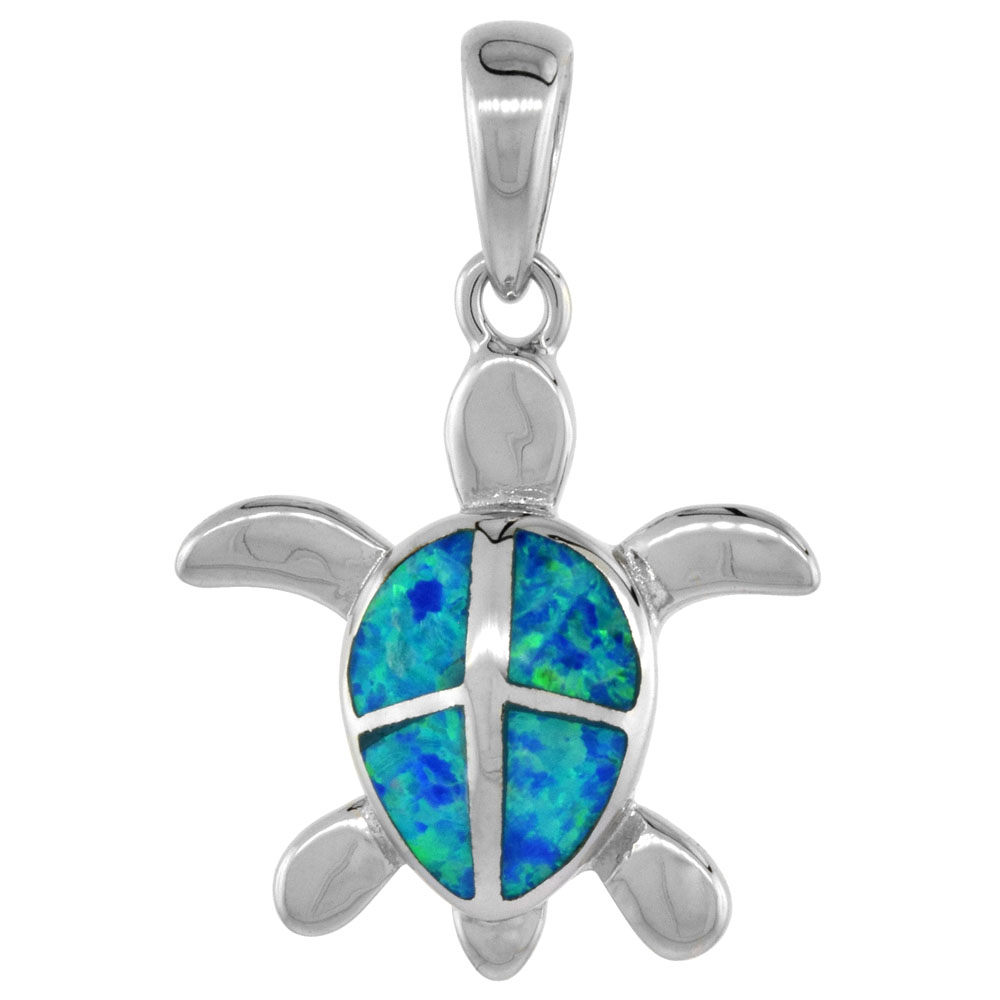 Sterling Silver Hawaiian Sea Turtle Pendant Synthetic Opal Inlay 13/16 inch tall