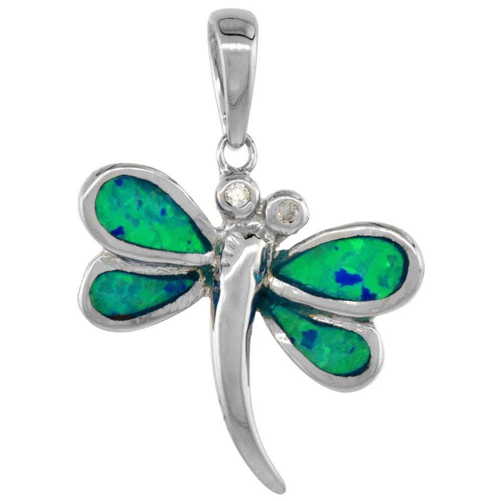 Sterling Silver Synthetic Opal Dragonfly Pendant for Women CZ Accent Hand Inlay 3/4 inch tall