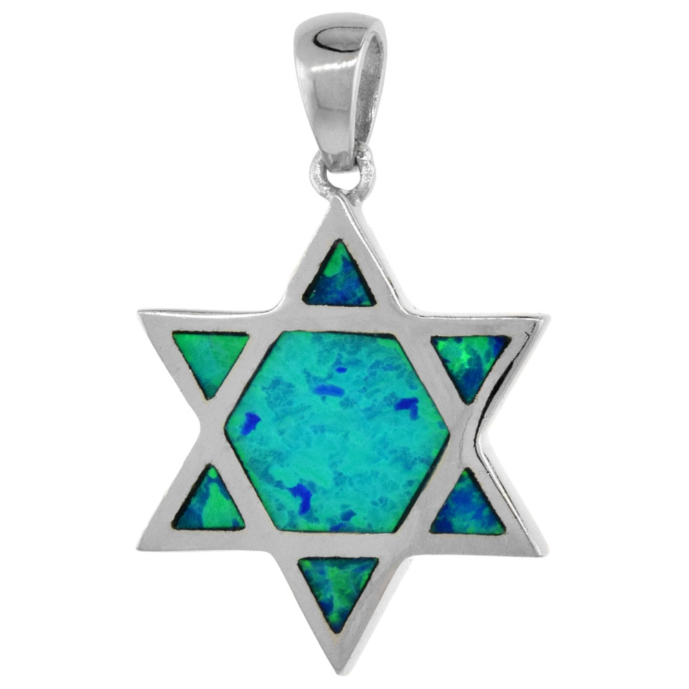 Sterling Silver Synthetic Opal Star of David Pendant for Women Hand Inlay 5/8 inch tall