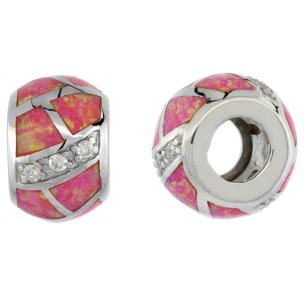Sterling Silver Synthetic Pink Opal Bead Charm CZ stones Fits Pandora and all Charm Bracelets, 3/8 inch
