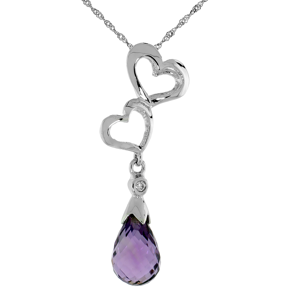 "10k White Gold Double Heart Cut Out & Amethyst Pendant, w/ Brilliant Cut Diamond, 1 3/16 in. (30mm) tall, w/ 18"" Sterling Silver"