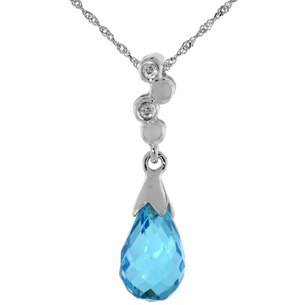 "10k White Gold Bubbles & Blue Topaz Pendant, w/ 0.02 Carat Brilliant Cut Diamonds, 7/8 in. (22mm) tall, w/ 18"" Sterling Silver Singapore Chain"