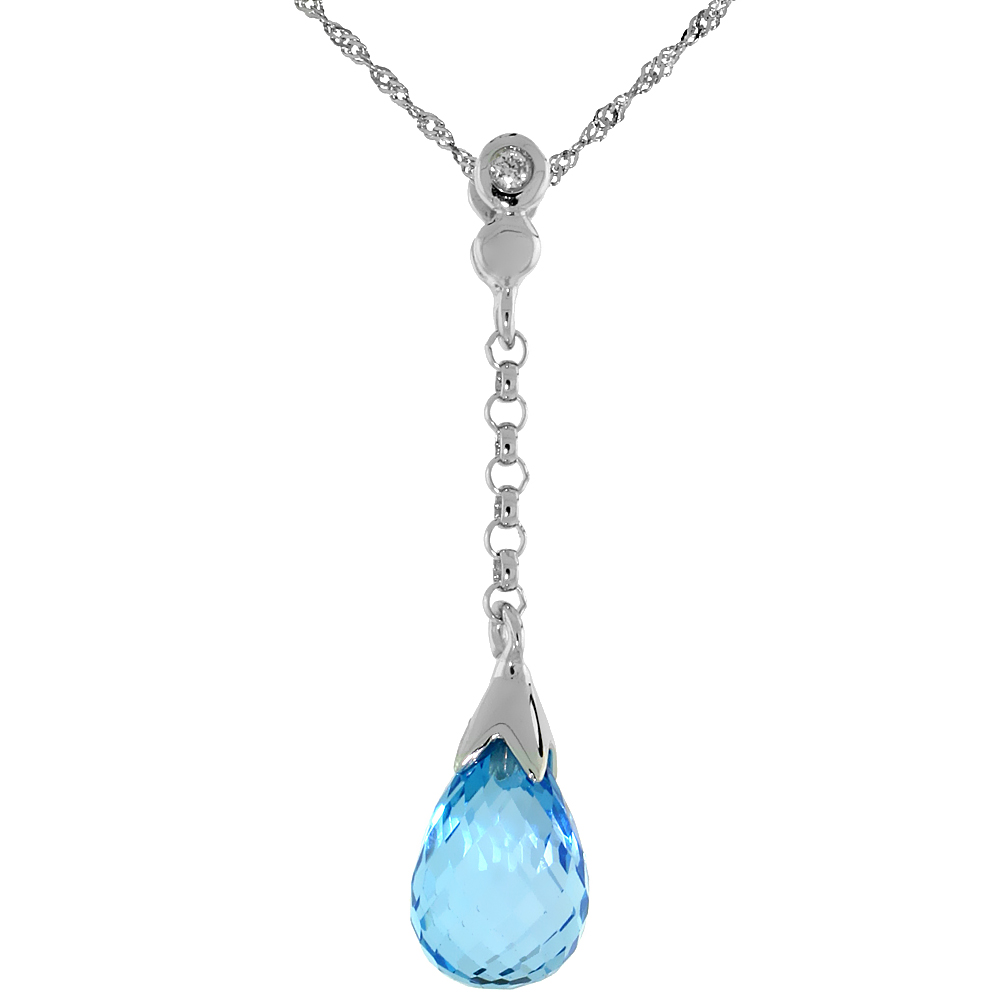 "10k White Gold Dangle Blue Topaz Pendant, w/ 0.02 Carat Brilliant Cut Diamond, 1 1/8 in. (29mm) tall, w/ 18"" Sterling Silver Singapore Chain"