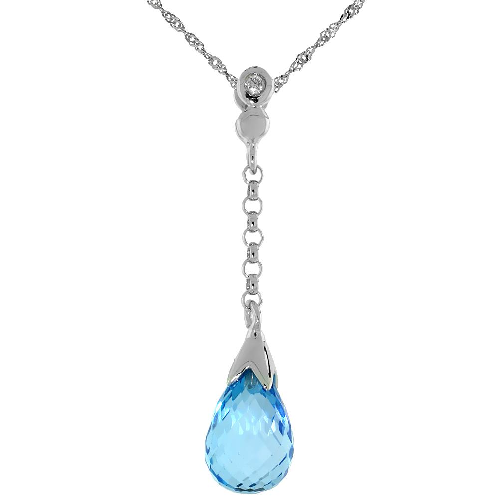 "10k White Gold Dangle Blue Topaz Pendant, w/ 0.02 Carat Brilliant Cut Diamond, 1 1/8 in. (29mm) tall, w/ 18"" Sterling Silver Sin"