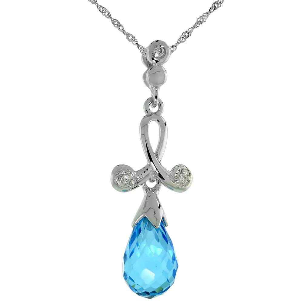 "10k White Gold Loop & Blue Topaz Pendant, w/ 0.02 Carat Brilliant Cut Diamonds, 1 1/16 in. (27mm) tall, w/ 18"" Sterling Silver Singapore Chain"