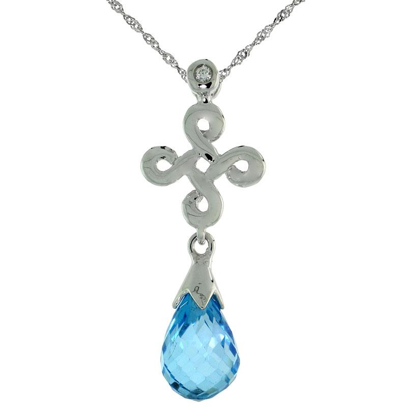 "10k White Gold Infinity Cross Blue Topaz Pendant, w/ 0.01 Carat Brilliant Cut Diamond, 1 in. (26mm) tall, w/ 18"" Sterling Silver Singapore Chain"