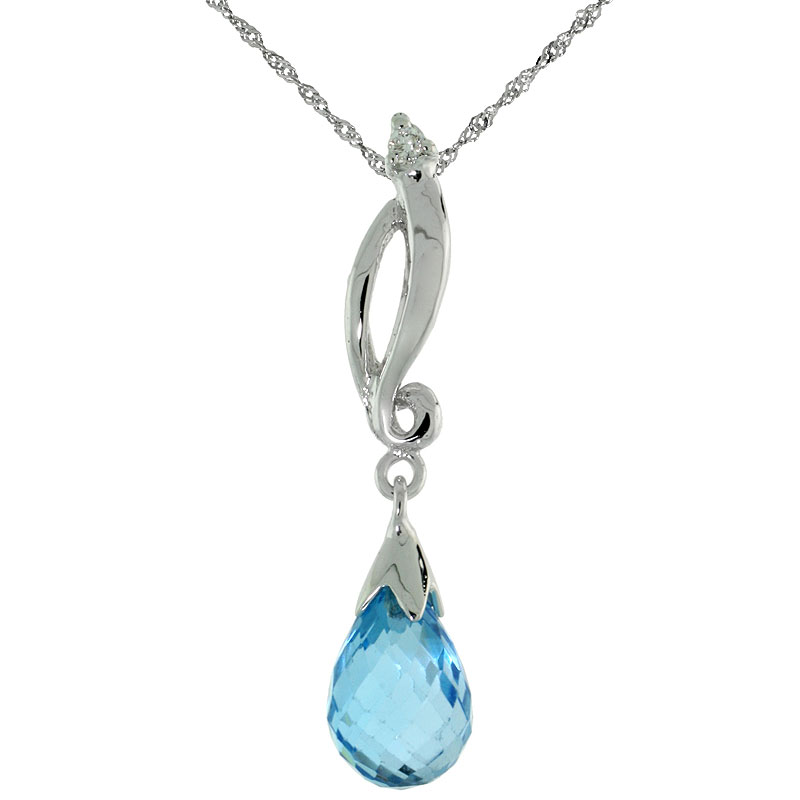"10k White Gold Swirl & Blue Topaz Pendant, w/ 0.01 Carat Brilliant Cut Diamond, 1 1/8 in. (29mm) tall, w/ 18"" Sterling Silver Singapore Chain"