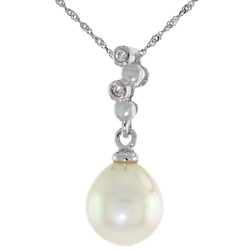 """10k White Gold Bubbles & Pearl Pendant, w/ 0.02 Carat Brilliant Cut Diamonds, 13/16 in. (21mm) tall, w/ 18"""" Sterling Silver Singapore Chain"""
