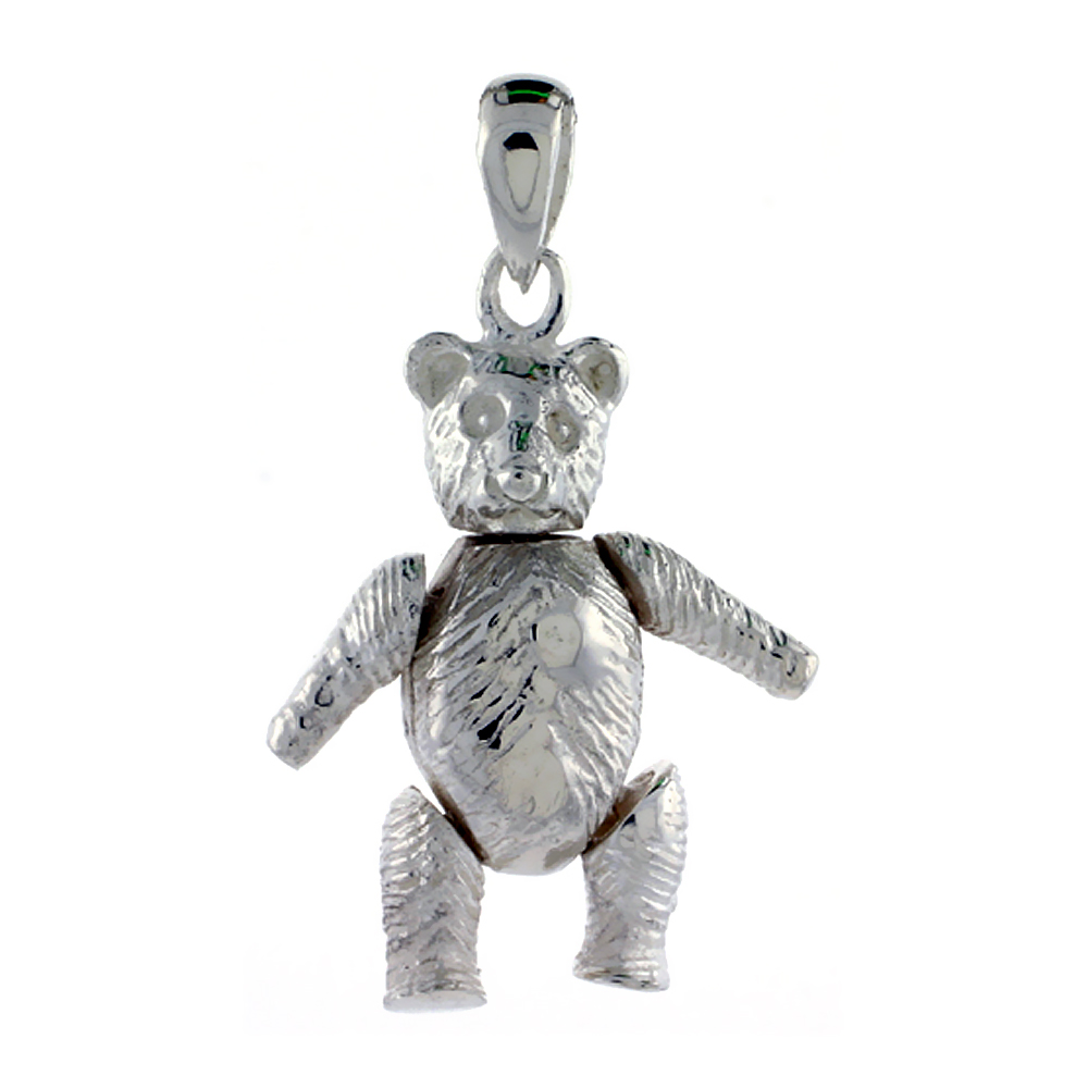 Sterling Silver Medium Movable Teddy Bear Pendant, 15/16 inch long