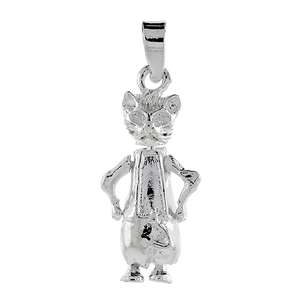 Sterling Silver High Polished Movable Cat Pendant, 3/4 inch long