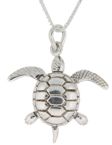 Sterling Silver High Polished Medium Movable Turtle Pendant, 15/16 inch long