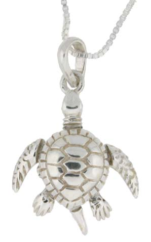 Sterling Silver High Polished Small Movable Turtle Pendant, 13/16 inch long