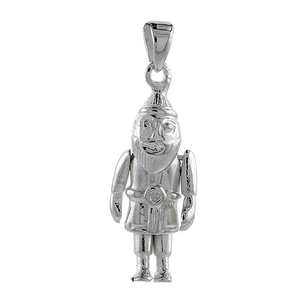 Sterling Silver High Polished Movable Santa Claus Pendant, 1 inch long