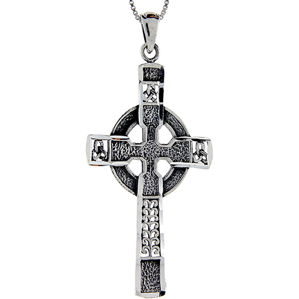 Sterling Silver Celtic High Cross Pendant, 2 1/4 inch long