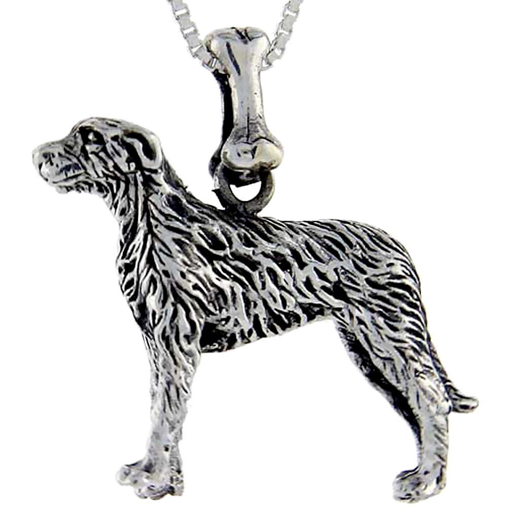 Sterling Silver Irish Wolfhound Dog Pendant �