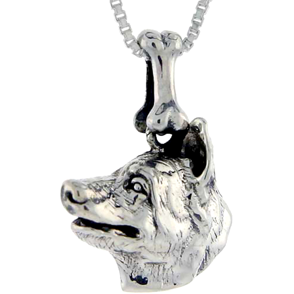 Sterling Silver Norwegian Elkhound Dog Pendant �