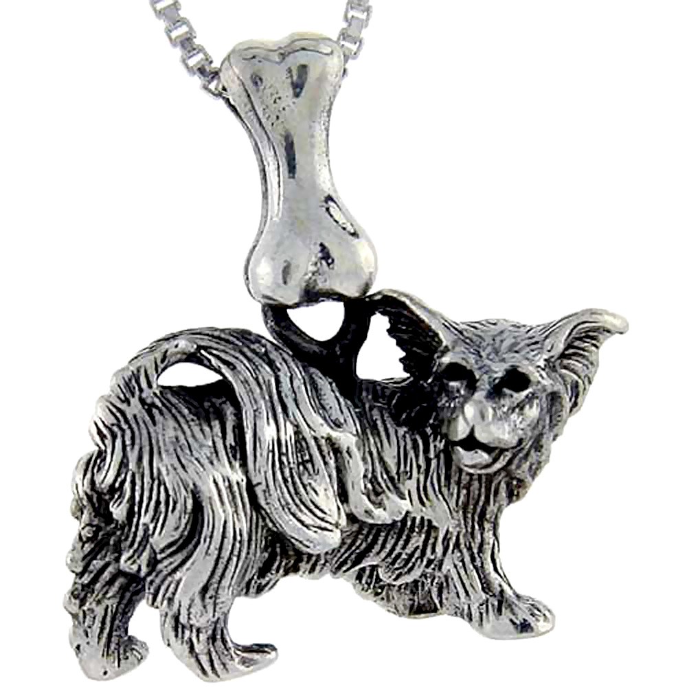 Sterling Silver Papillion Dog Pendant �