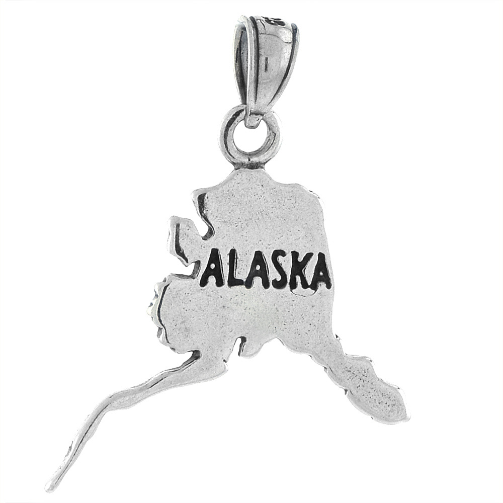 Sterling Silver Alaska State Map Pendant, 1 1/4 inch tall