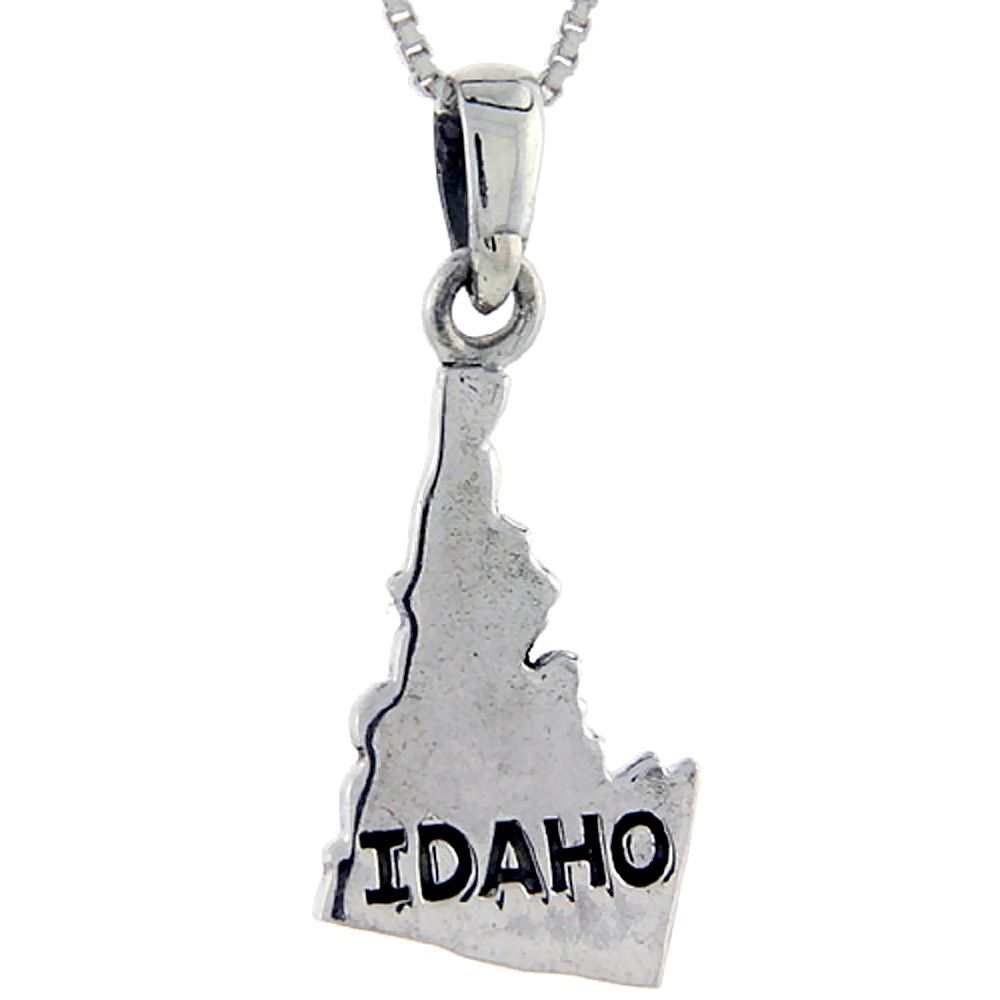 Sterling Silver Idaho State Map Pendant, 1 1/4 inch tall
