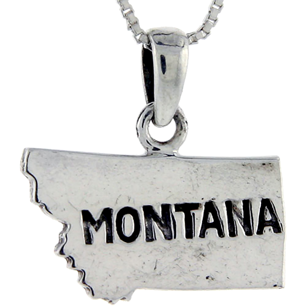 Sterling Silver Montana State Map Pendant , 3/4 inch tall
