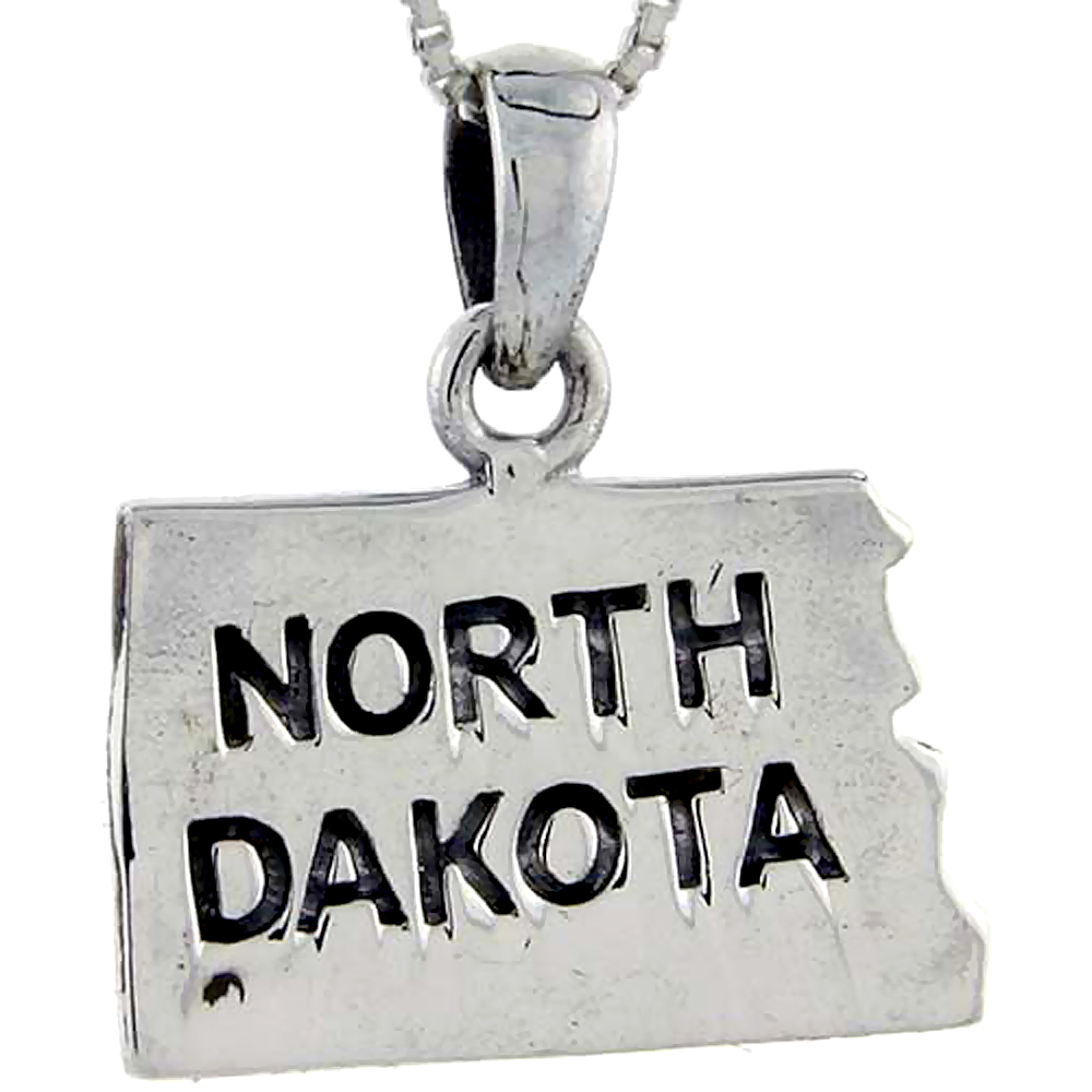 Sterling Silver North Dakota State Map Pendant, 1 1/16 inch tall