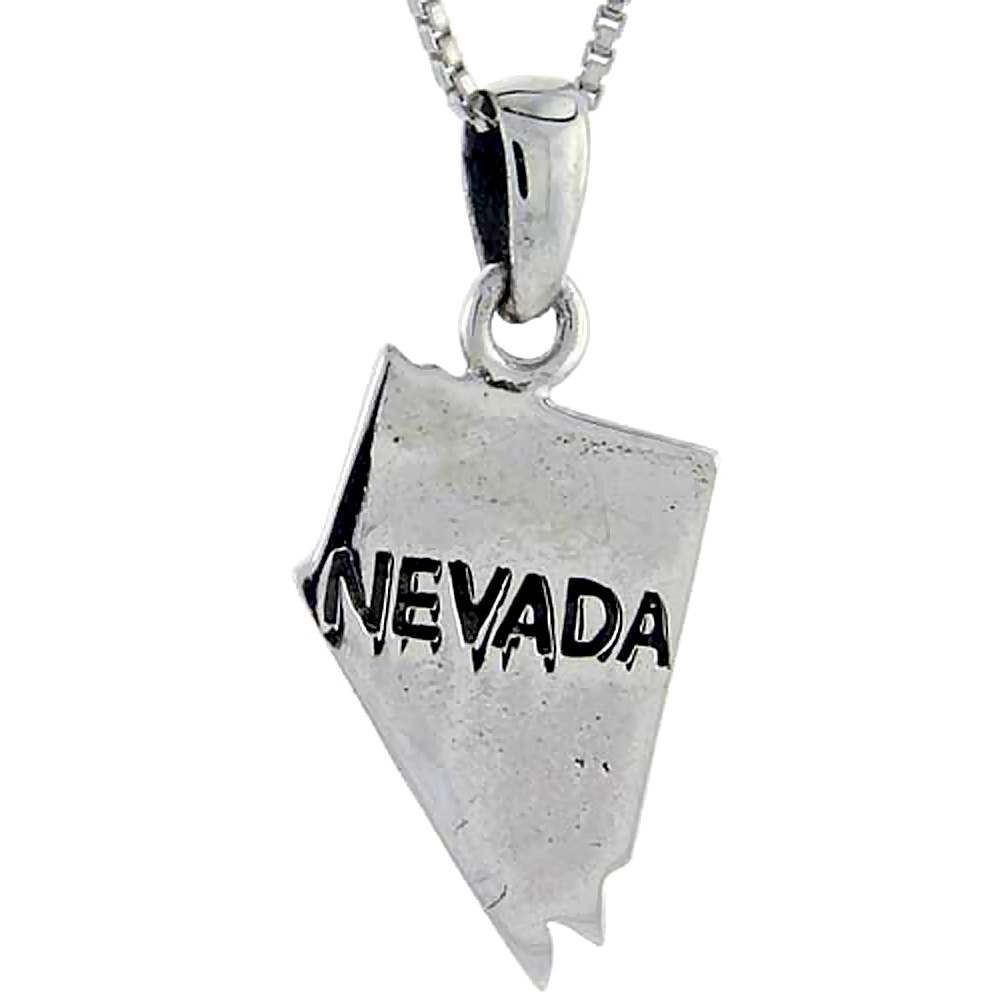Sterling Silver Nevada State Map Pendant, 3/4 inch tall