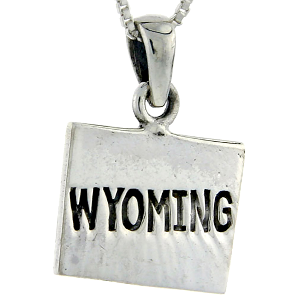 Sterling Silver Wyoming State Map Pendant, 1 inch tall